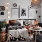 boho dark grey and white interior in this room is