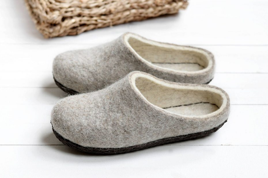 boiled wool eco shoes women clogs felt rustic hygge