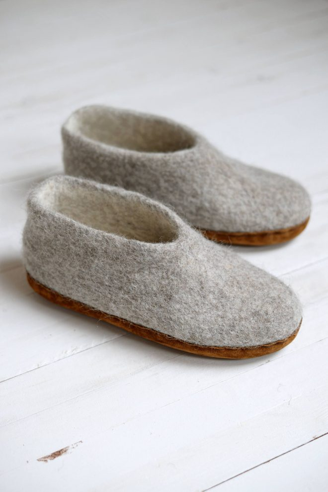 boiled wool slippers made from natural sheeps wool felted