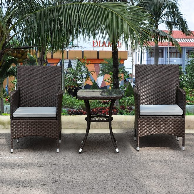 breakwater bay 3 pieces patio furniture set outdoor wicker rattan dining chairs porch backyard bistro brown lawn conversation sofa set with grey