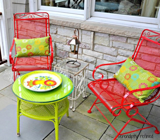 brightly colored spray painted outdoor patio furniture