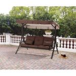 brown 3 seat converting outdoor patio swing hammock with