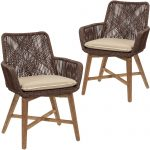 brown armena pe wicker outdoor dining chairs set of 2