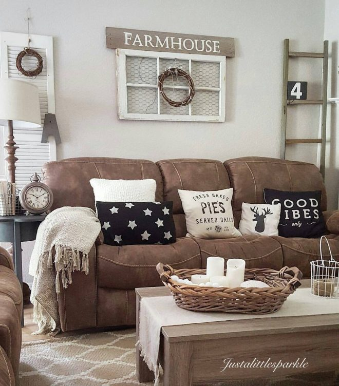 brown couch rustic home rustic living room farmhouse