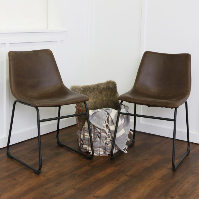 brown faux leather dining chairs set of 2 walker edison