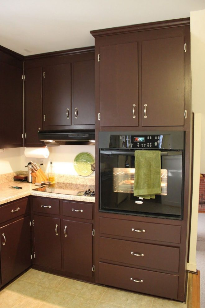 brown painted kitchen cabinets silver hardware looks