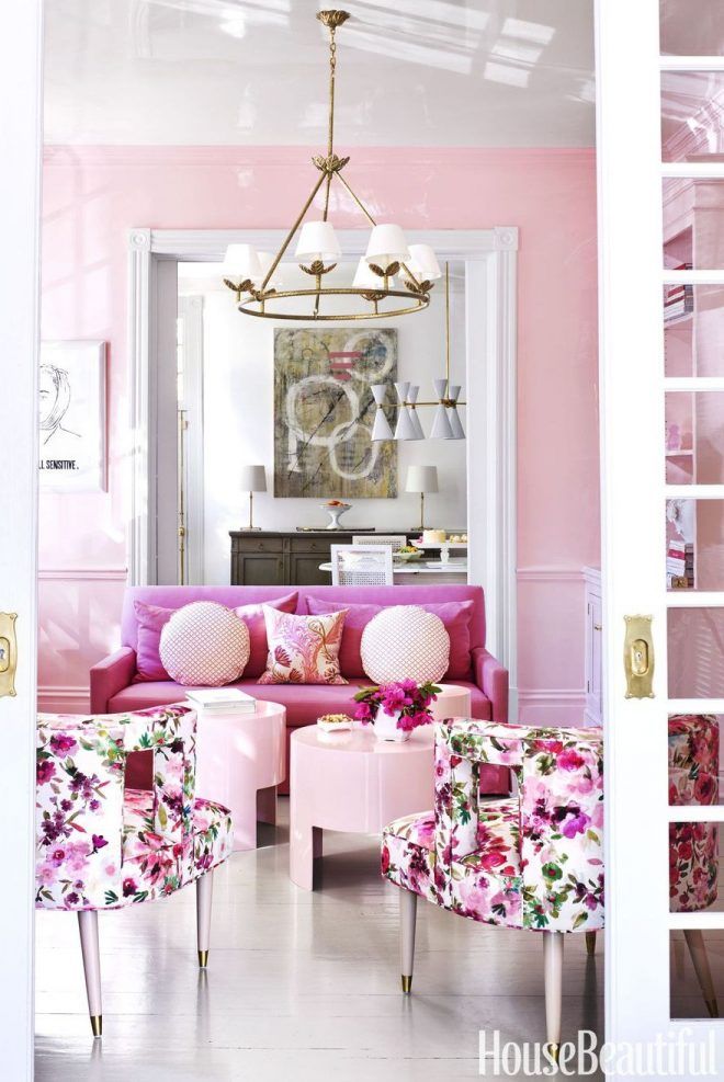 bubblegum pink and gold living room pink couch gold
