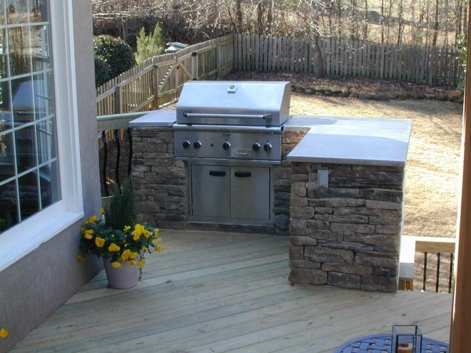 built in grill on wood deck outdoor grill area outdoor