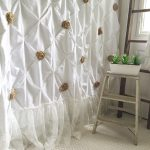 burlap ruffle shower curtain white cotton with handmade rosettes and pearls rustic shab chic girls bathroom curtain