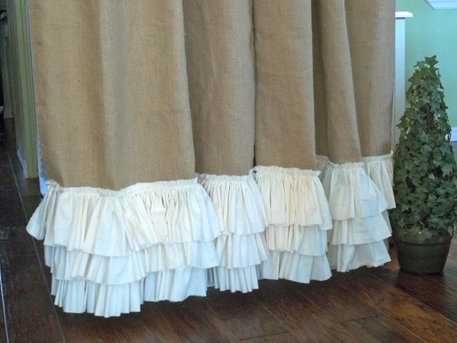burlap shower curtain with ruffles shower curtains ideas