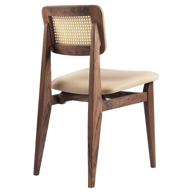 c chair seat upholstered dining chair chamois leather french cane back american walnut oiled