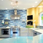 captivating mosaic glass backsplash idea in bright kitchen with