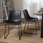 carbon loft prusiner black faux leather dining chairs set of 2 urban metal sled legs na