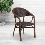 carnegy avenue metal outdoor dining chair in dark brown rattanred bamboo aluminum frame