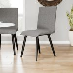 carson carrington odda mid century modern style grey upholstered dining chair set of 2 17w x 21 12d x 36h