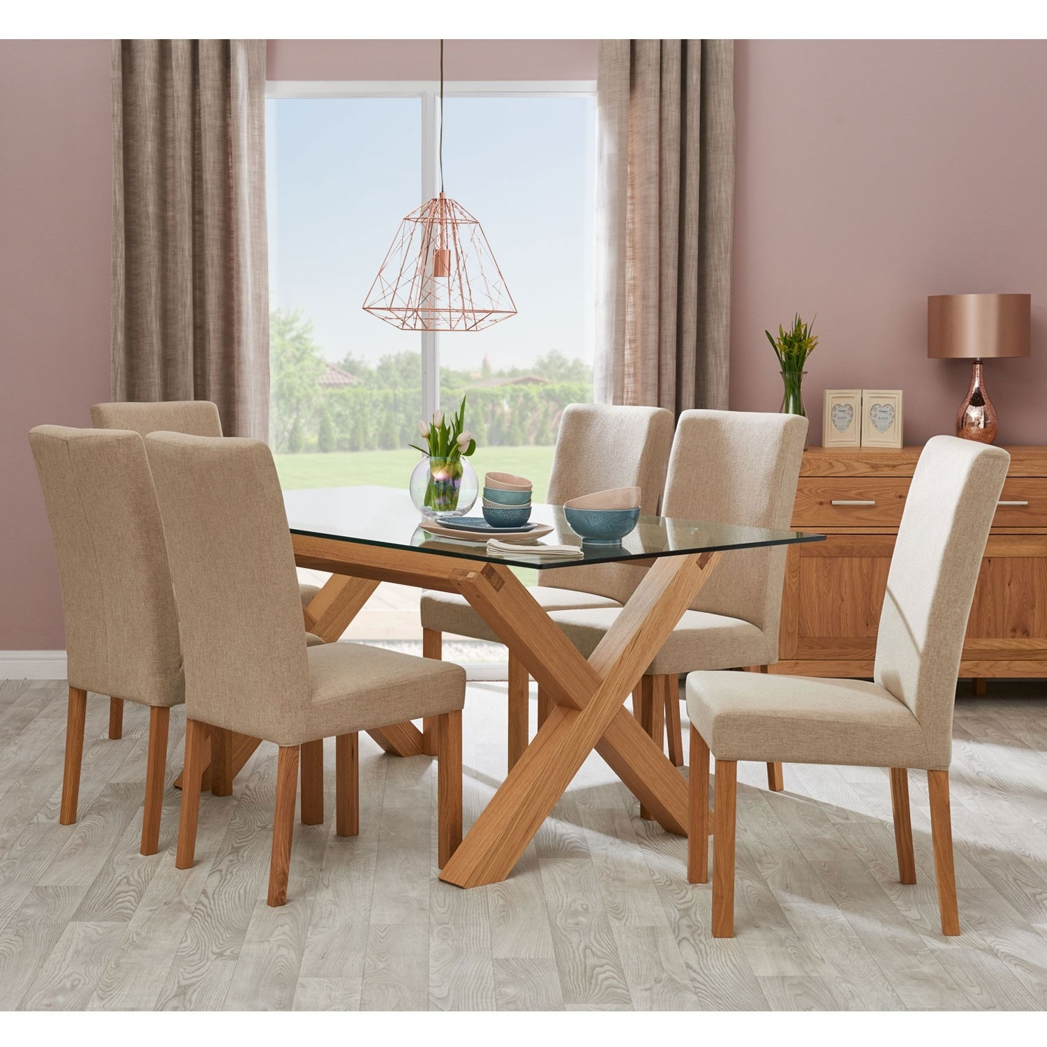 casa toledo glass table 6 upholstered chairs dining set