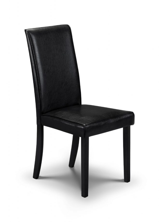 catania solid wood black faux leather dining chair jb231