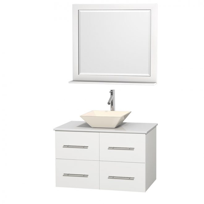 centra 36 single bathroom vanity for vessel sink matte white