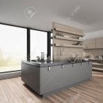 centre island in a large spacious modern kitchen with hardwood