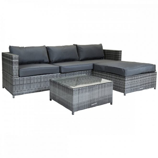 charles bentley l shaped 3 seater outdoor rattan furniture lounge