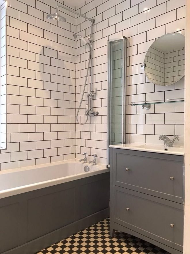 checkered floor and classic wall tiles bathroom flooring