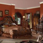 cherry oak king bedroom set 4pcs carved wood 12137ek dresden