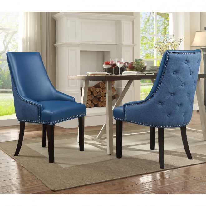 chic home cooper pu leather and linen upholstered dining chair set of 2