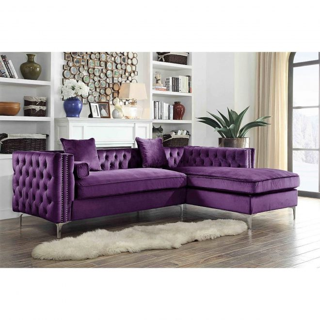 chic home monet purple velvetsilvertone nail head trim button tufted right facing sectional