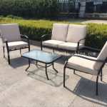 china modern dining table set with cushion steel sofa set outdoor patio garden furniture