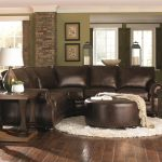 chocolate brown leather sectional w round ottoman leather