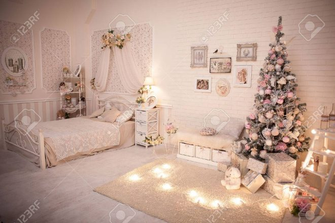 christmas bedroom in shab chic style decorated tree in cozy