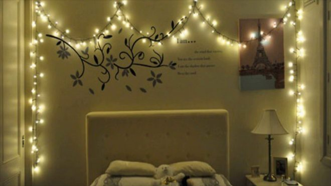 christmas lights in bed room
