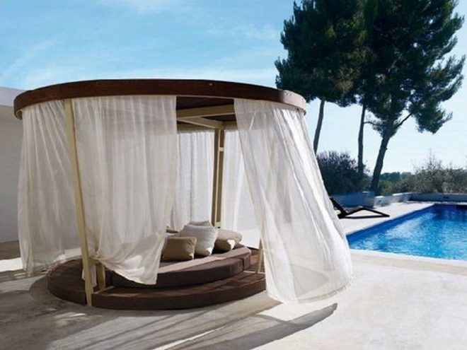 cimple black wooden quen bed with canopy and white curtain