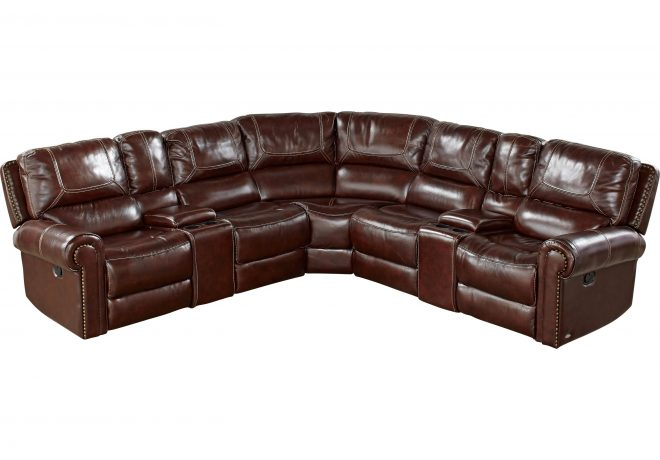 cindy crawford home campania brown leather 7 pc reclining