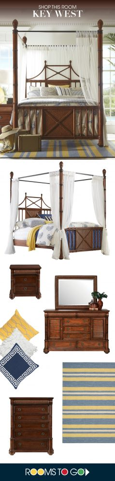 cindy crawford home key west tobacco 8 pc queen canopy x