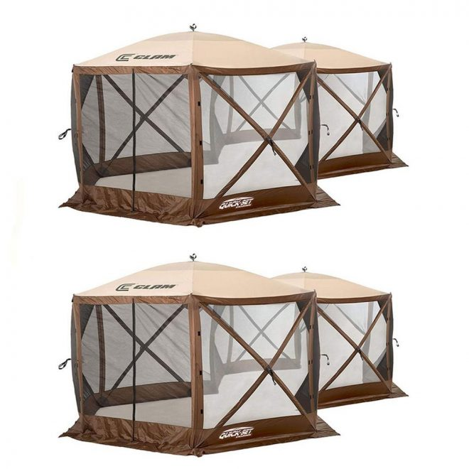 clam quick set excursion pop up 2 room outdoor gazebo canopy shelter 2 pack