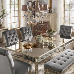 clara silver velvet and antique gold mirrored dining set inspire q bold