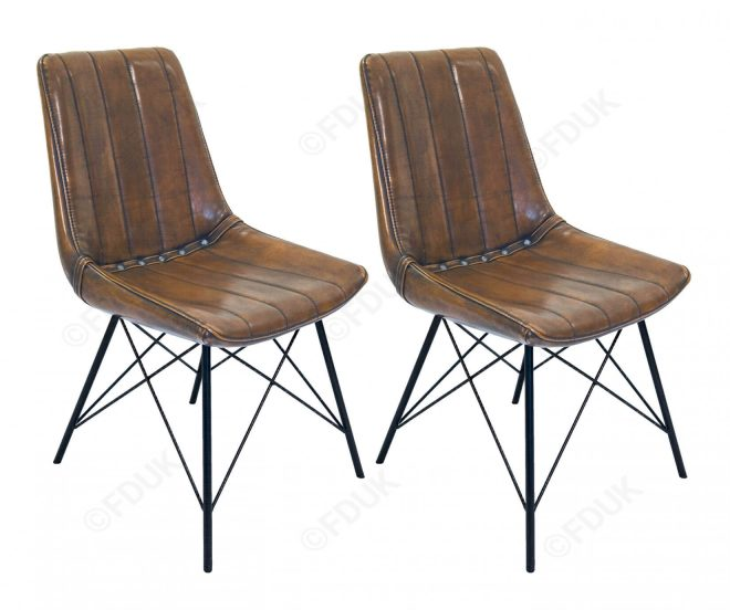 classic furniture industrial retro studded vintage dining chair in pair