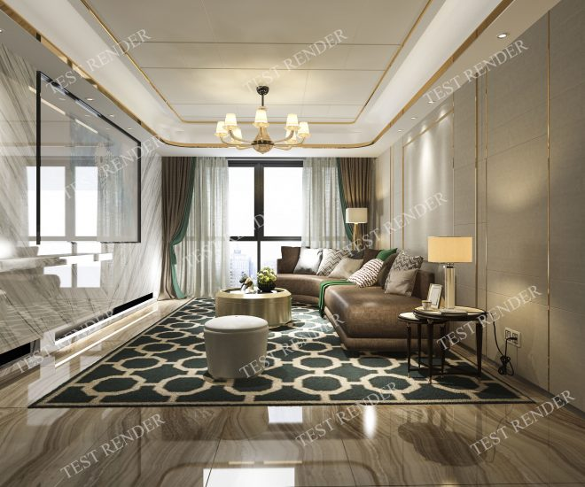 classic modern luxury living room with tv 3d model