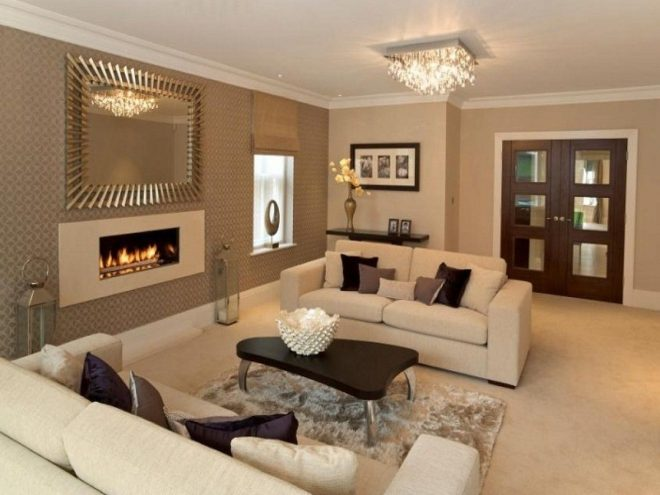 classy design ideas of home living room with beige wall paint color