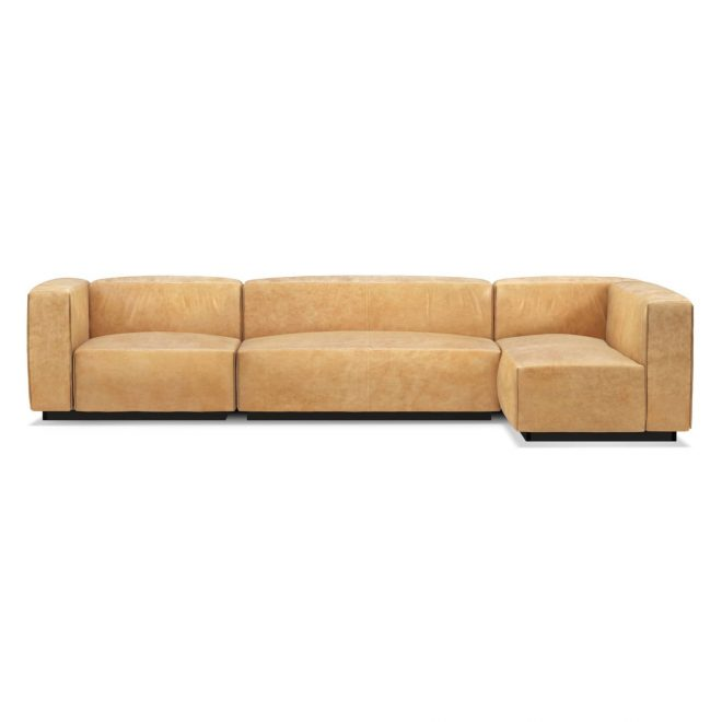 cleon medium leather sectional sofa