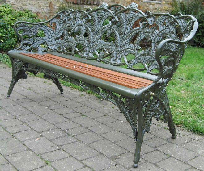 coalbrookdale fern and blackberry cast iron bench fully