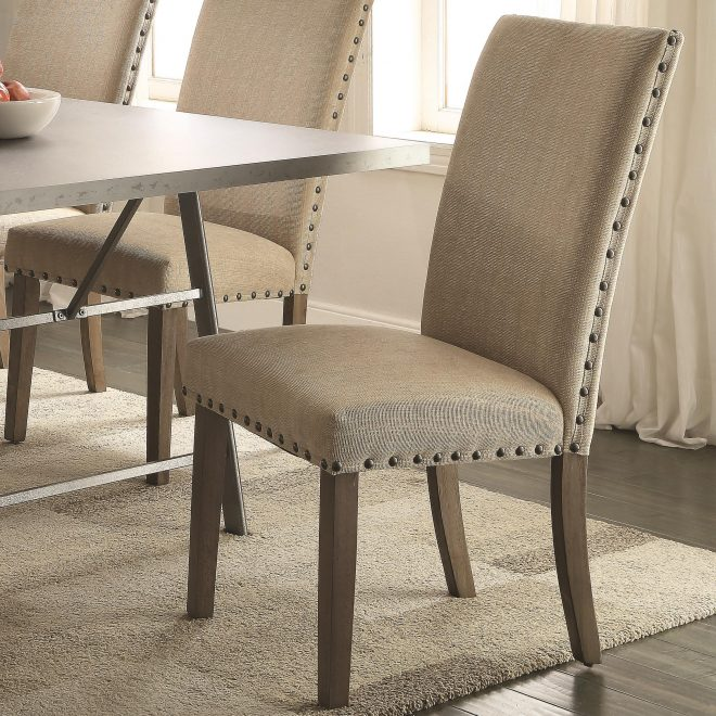 coaster amherst casual parson chair with tan fabric upholstery and