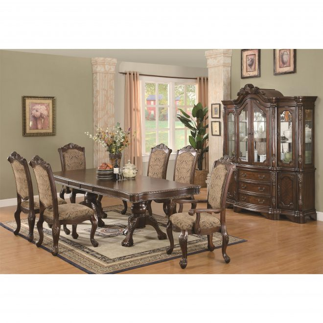 coaster andrea 6pc double pedestal dining table set in brown cherry