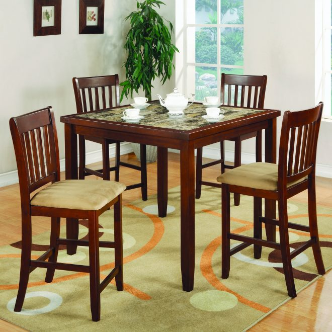 coaster company cherry finish 5 piece counter height dining set