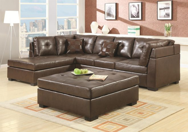 coaster darie 500686 leather sectional sofa with left side chaise