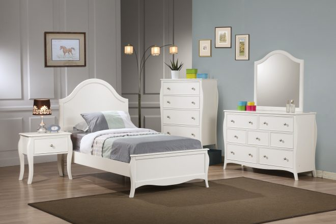 coaster dominique 4 piece youth panel bedroom set in white