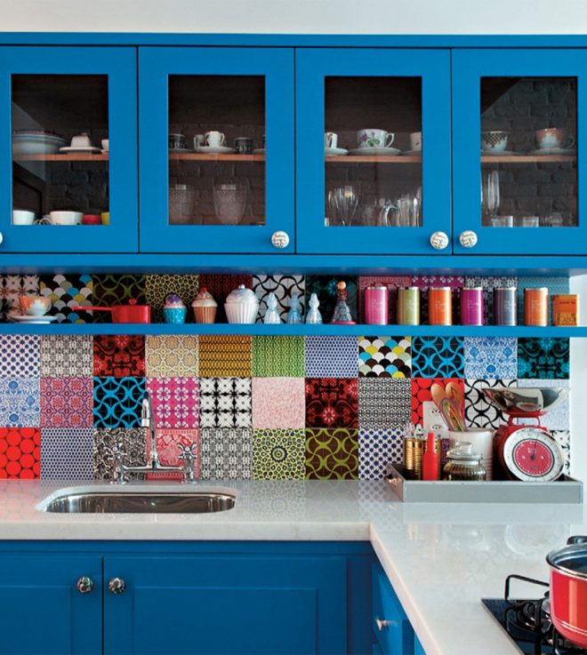 colorful apartment kitchen backsplash tiles with blue wall mount