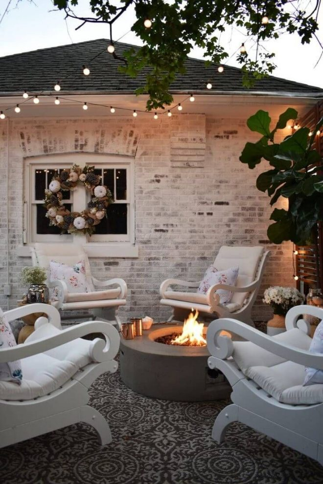 comfy lounge chairs around a fire pit backyard outdoor