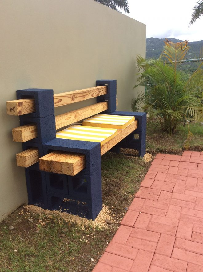 concrete block and wood bench my diy arts crafts in